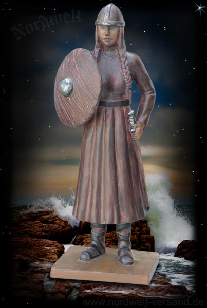 Viking shieldmaid / warrior, made of artificial stone