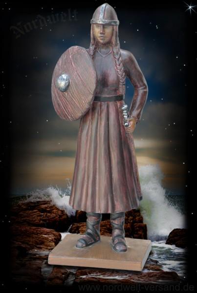 Wikinger Odins Schildmaid Kriegerin mit Schwert und Schild Polyresin Figur Statue Skulptur