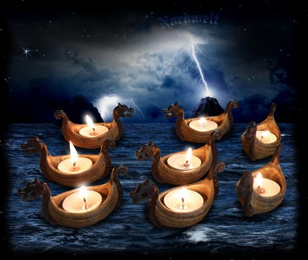 Teelichthalter Wikingerschiff Flotte Kerzenhalter Drachenboot