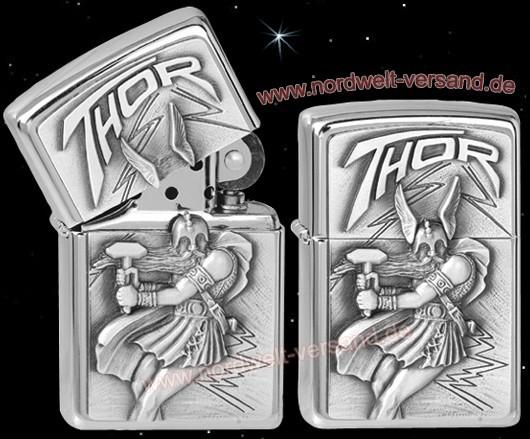Zippo Benzin Feuerzeug mit Donnergott Thor mit Thorshammer in der Hand
