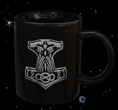 Tasse mit Thorhammer schwarz / silber
