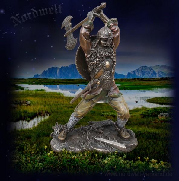 Nordmann mit Doppelaxt Phantasie Wikinger Figur Statue Krieger Polyresin