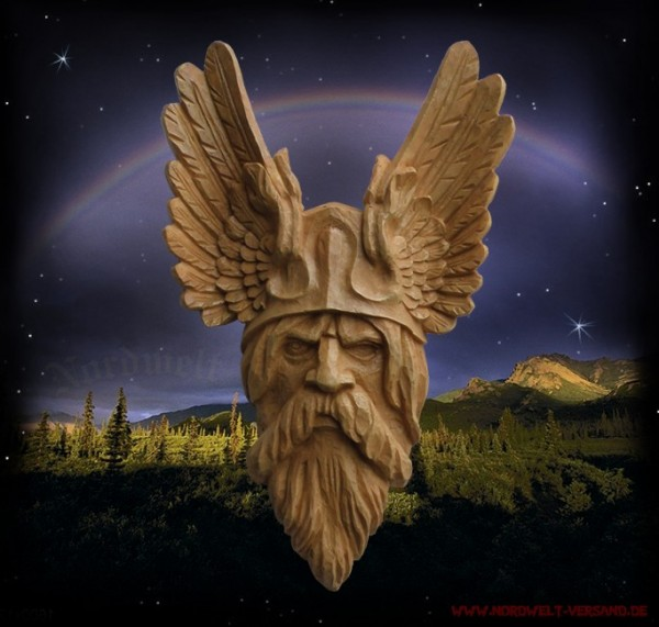 "Wandrelief ""Odins Kopf"" Holzoptik"