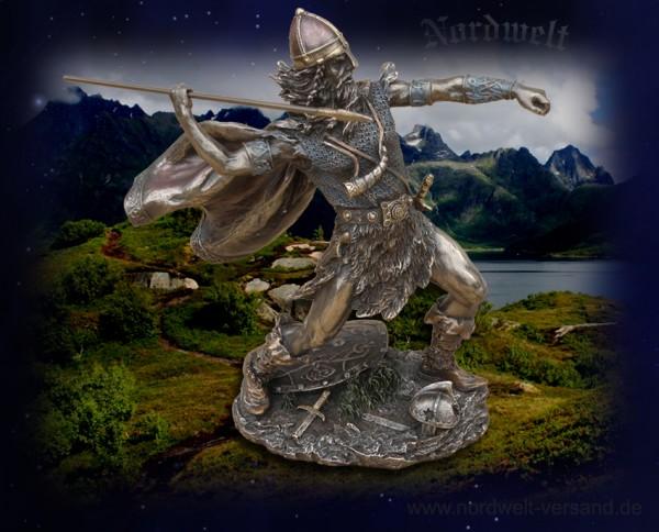 Wikinger Speerwerfer Nordmann Figur Statue Skulptur Krieger Speer