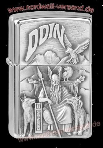 Zippo Benzin Feuerzeug mit Odin und seinen Raben Original Markenware