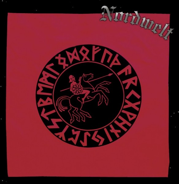 rote Runen Tischdecke mit 24er Futhark Odin auf Sleipnir Wotan