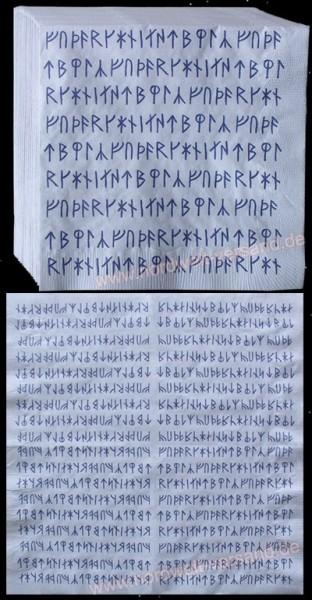 Runen Servietten mit Wikinger Futhark 16er Runenreihe