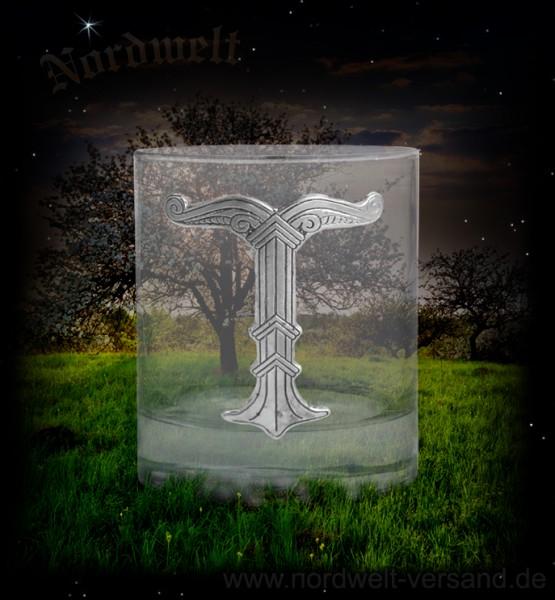 Kristallglas mit Irminsul aus Zinn