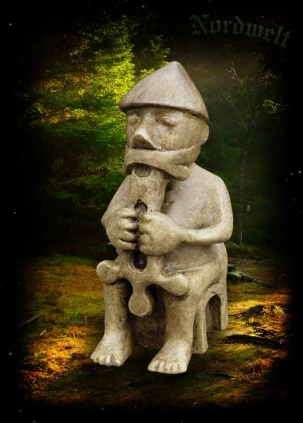 Figur Thor Statue Island Replik Kunststein Donnergott Mjölnir Thorhammer Polyresin