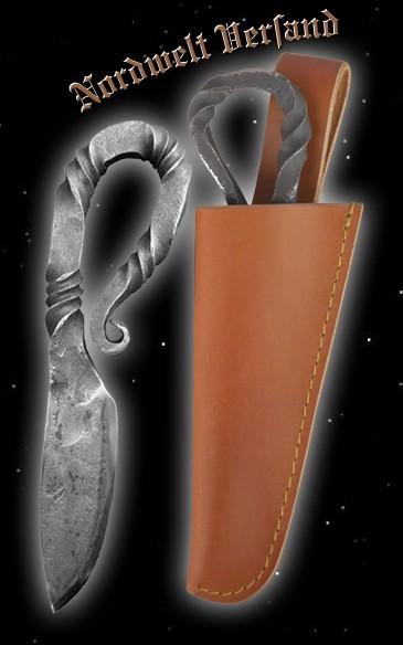 Wikingermesser mit brauner Lederscheide