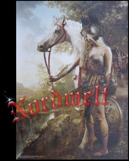 Walküre Poster Kunstdruck Odins Jungfrau mit Pferd Schildmaid
