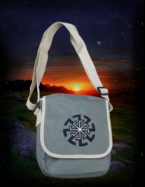 Umhänge-Tasche mit Sonnenrad/Kolovrat, grau