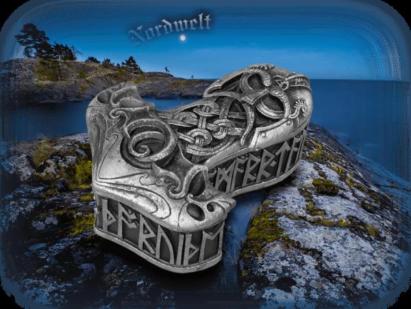 Thorhammer Schale mit Runen aus Kunststein Mjölnir Polyresin