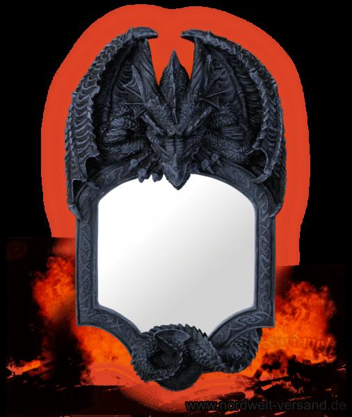 Spiegel Drache Drachenspiegel Polyresin Kunststein