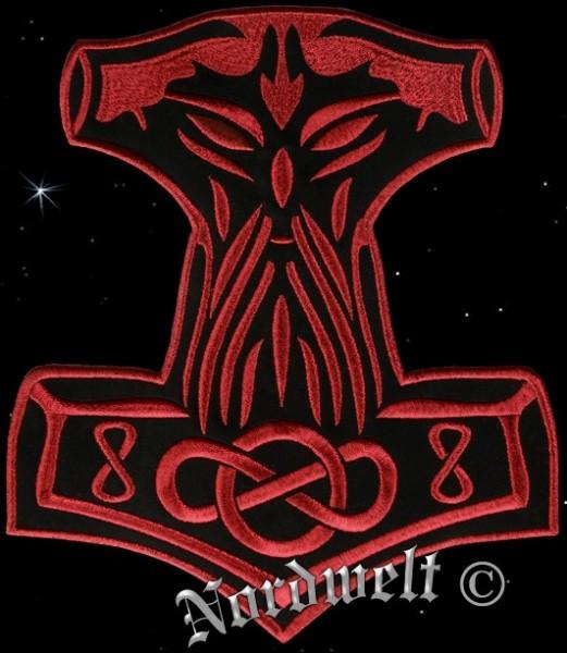 """Aufnäher """"Thorhammer"""", Stickerei in rot - groß"""