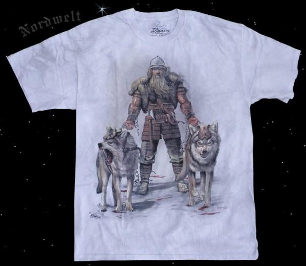 Asatru T-Shirt Heimdall Asgard Wächter Pagan T-Hemd mit zwei Wölfen