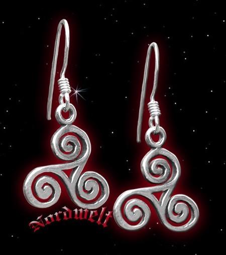 Ohranhänger Triskele - 925er Silber, 1 Paar