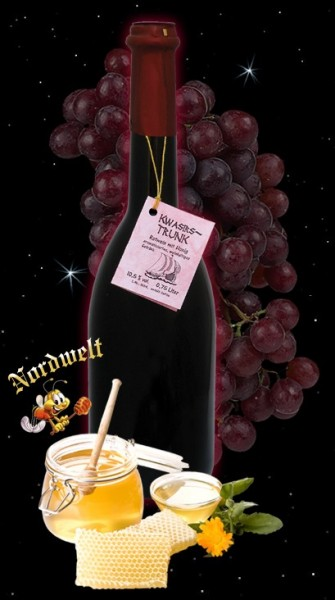 "Red wine with honey ""Kwasirs drink"", 25,36 fl oz (750 ml) bottle; 10,5% vol.,"