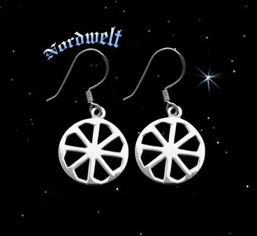 Ohranhänger Sonnenrad Kolovrat Svarog Sonnensymbol Ohrhaken 925er Silber