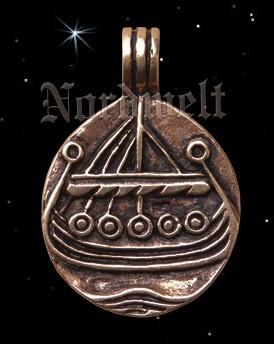 Anhänger Münze Drachenschiff Wikingerschiff Bronze Wikinger Schmuck Wikingermünze