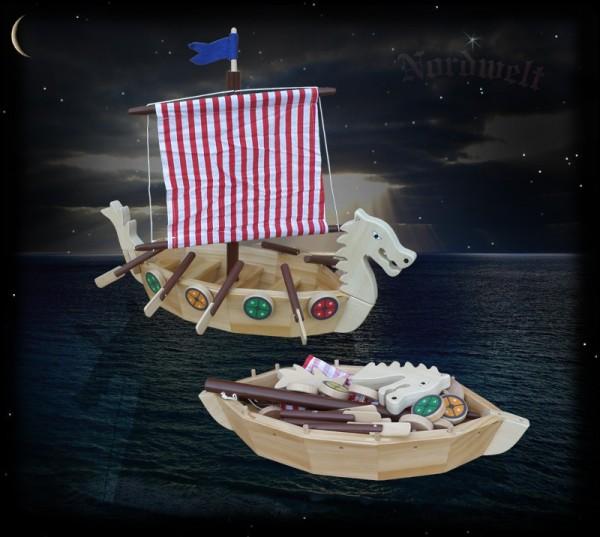 Wikingershiff Bausatz aus Holz für Kinder, Drachenboot der Wikinger Wikingerboot Holzschiff