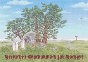 "Postkarte ""Brautpaar beim Gang zum Ahnengrab"""