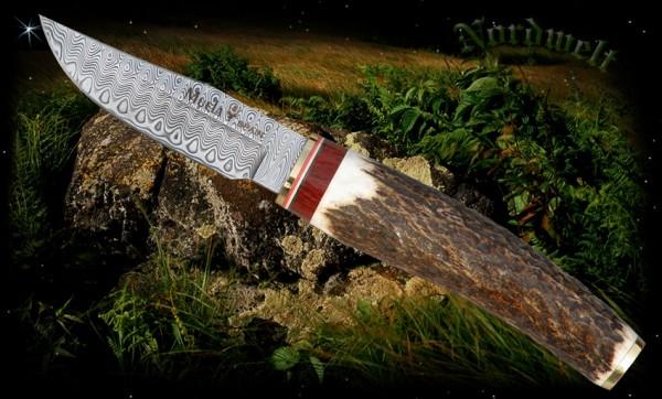Muela Messer mit Hirschhorngriff Damaszenerstahl Jagdmesser