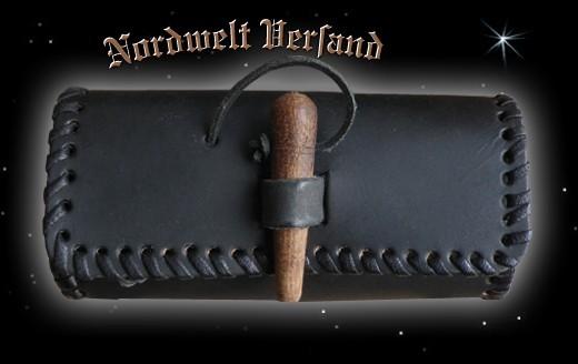 Mittelalter Ledertasche handgenäht, schwarz