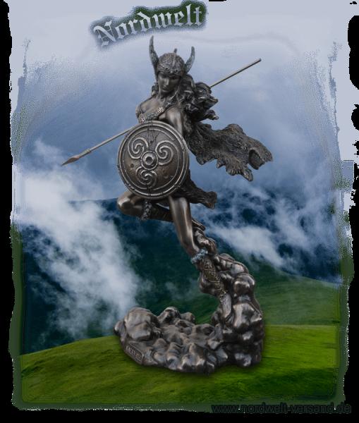 Figur Skulptur Schlachtjungfer oder Schildjungfer Walküre Bronzefigur Statue