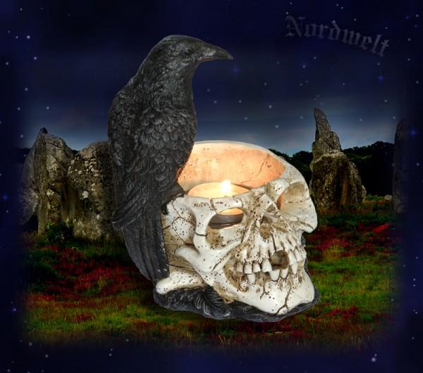Odins Rabe Hugin oder Munin auf Totenschädel Teelichthalter Polyresin