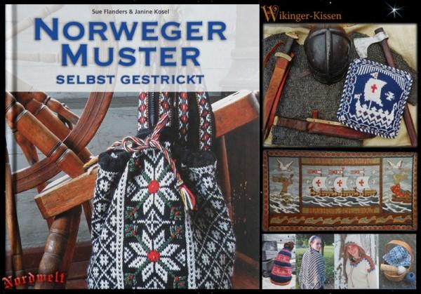 Norweger Muster - selbst gestrickt - Wikingerkissen