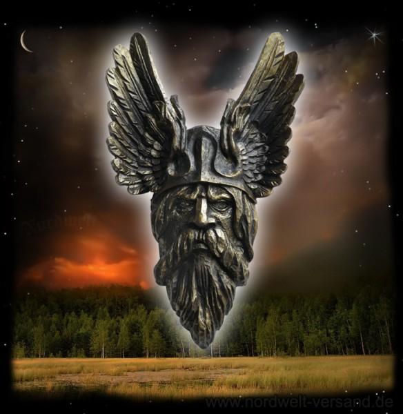 Wodan Göttervater bronzierter Kopf Odin aus Polyresin Kunststein hergestellt Wotan