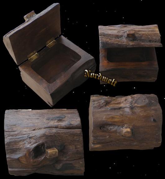 Mittelalterliche Truhe Stammholz Holzdose für Mittelalter Reenactment Geocaching Cache Behälter