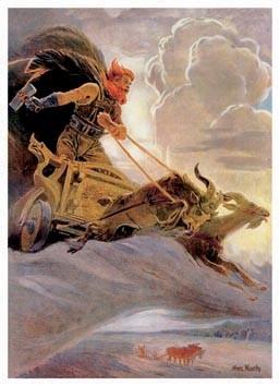 Thor mit Thorhammer Mjölnir Donnergott Poster Kunstdruck Streitwagen Ziegenböcke
