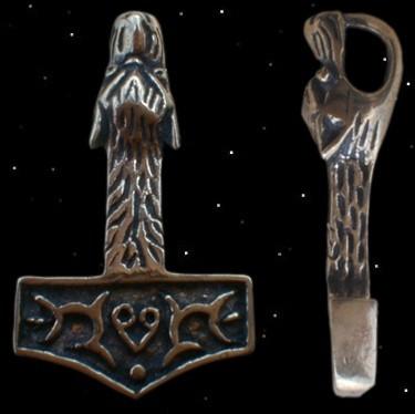 Thors Hammer mit Wolfskopf Mjölnir Thorshammer Anhänger aus Bronze