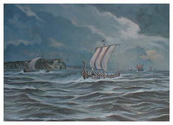 Wikingerschiffe Jomsburg Wikinger Flotte Poster Kunstdruck