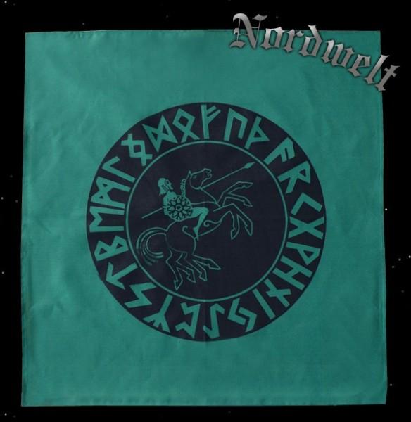 24er Futhrak Runen Tischdecke mit Wotan auf Sleipnir Odin Göttervater Wodan