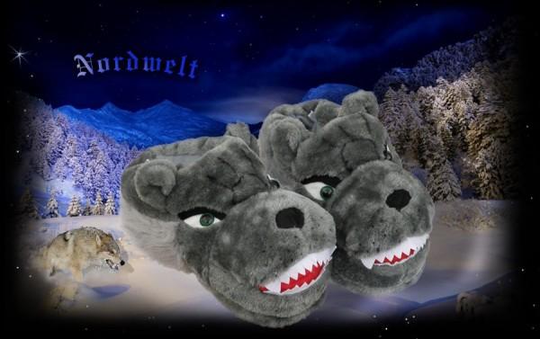 Hüttenschuhe Fellhausschuhe Wolf grau, Größe 40/41
