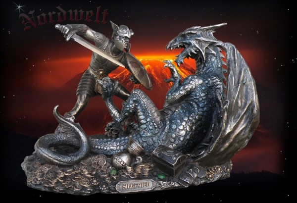 Siegfried in the dragon fight, bronze colored