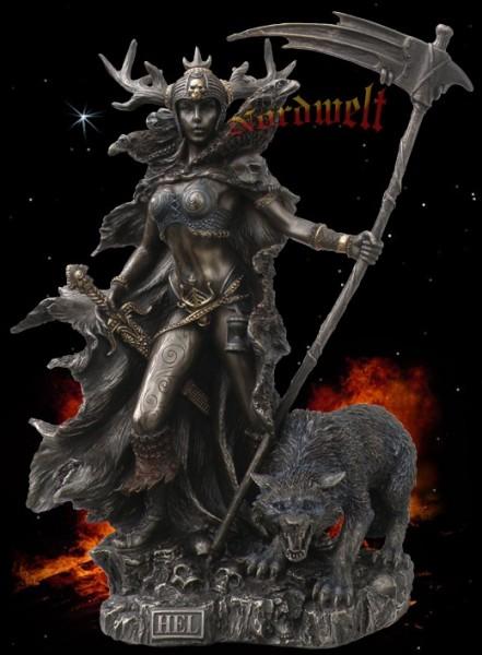 Figur Hel die Göttin der Unterwelt Statue Bronzefigur bronziert germanische Gottheiten