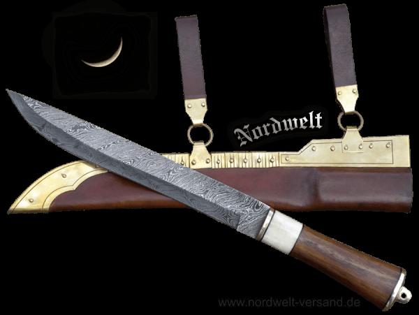 Wikingersax Damaszenerstahl Gotland- Sax Messer Wikinger Damaszener Stahl