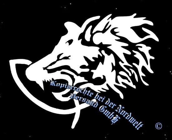 """PVC Aufkleber Fenris Wolf greift Fisch (15,5 x 11,5 cm) """"weiß"""""""