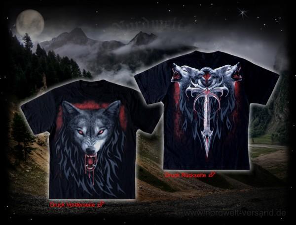 Wotas Wölfe T-Hemd mit Wolf, Pagan T-Shirt Wodan Odins Woelfe