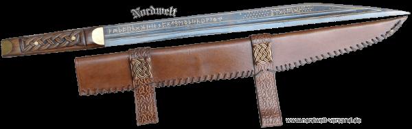 Sax Beagnoth Silber und Gold einlegearbeiten Runen Wikinger Germanen Messer Kurzschwert