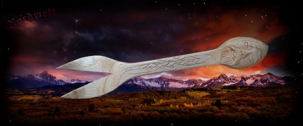 Odin Holzgabel geschnitzt Gabel aus Holz Wodan Wotan Wikinger