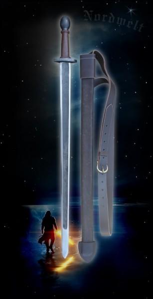 Wikingerschwert Spatha de luxe Øyen Schwert der Wikinger mit Lederscheide Kampfschwert