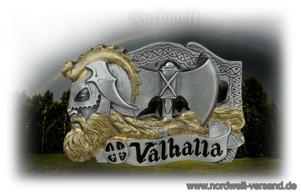 "Belt buckle ""Valhalla"", (partly gilded) made of pewter"