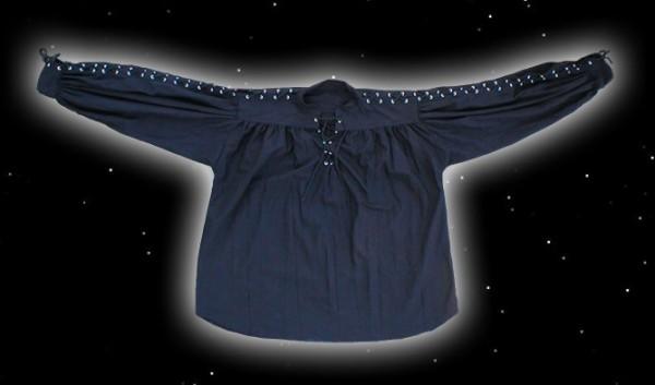 Schnürhemd mit Ärmelschnüren Schwarz
