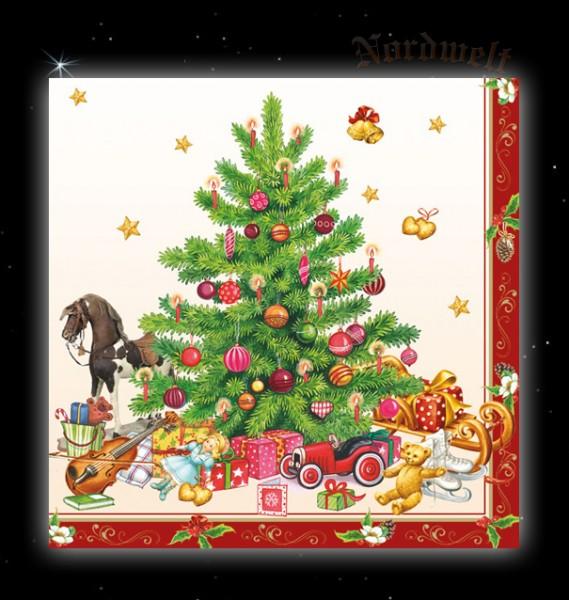 Servietten Julfest Julbaum Julleuchter Unterlage Nostalgie Weihnachtsbaum Serviette Brauchtum Julfeier