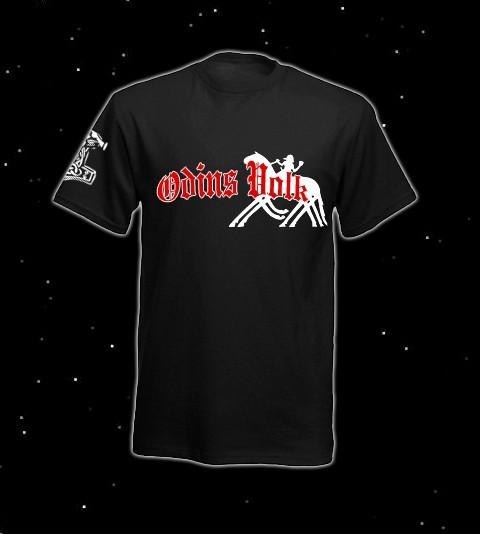 Odins Volk T-Hemd T-Shirt Bekleidung Heiden Pagan Asatru Odin auf Sleipnir Thorhammer Thors Hammer